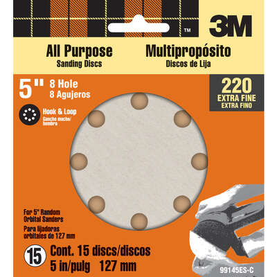 3M  5 in. Aluminum Oxide  Hook and Loop  Sanding Disc  220 Grit Extra Fine  15 pk