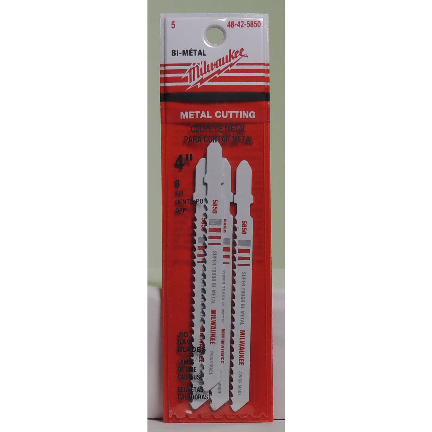 Milwaukee  4 in. Bi-Metal  T-Shank  Non-ferrous metal cutting  8 TPI Jig Saw Blade  5 pk