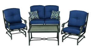 Living Accents  Somerset Indigo  4 pc. Gray  Aluminum  Patio Set  Blue