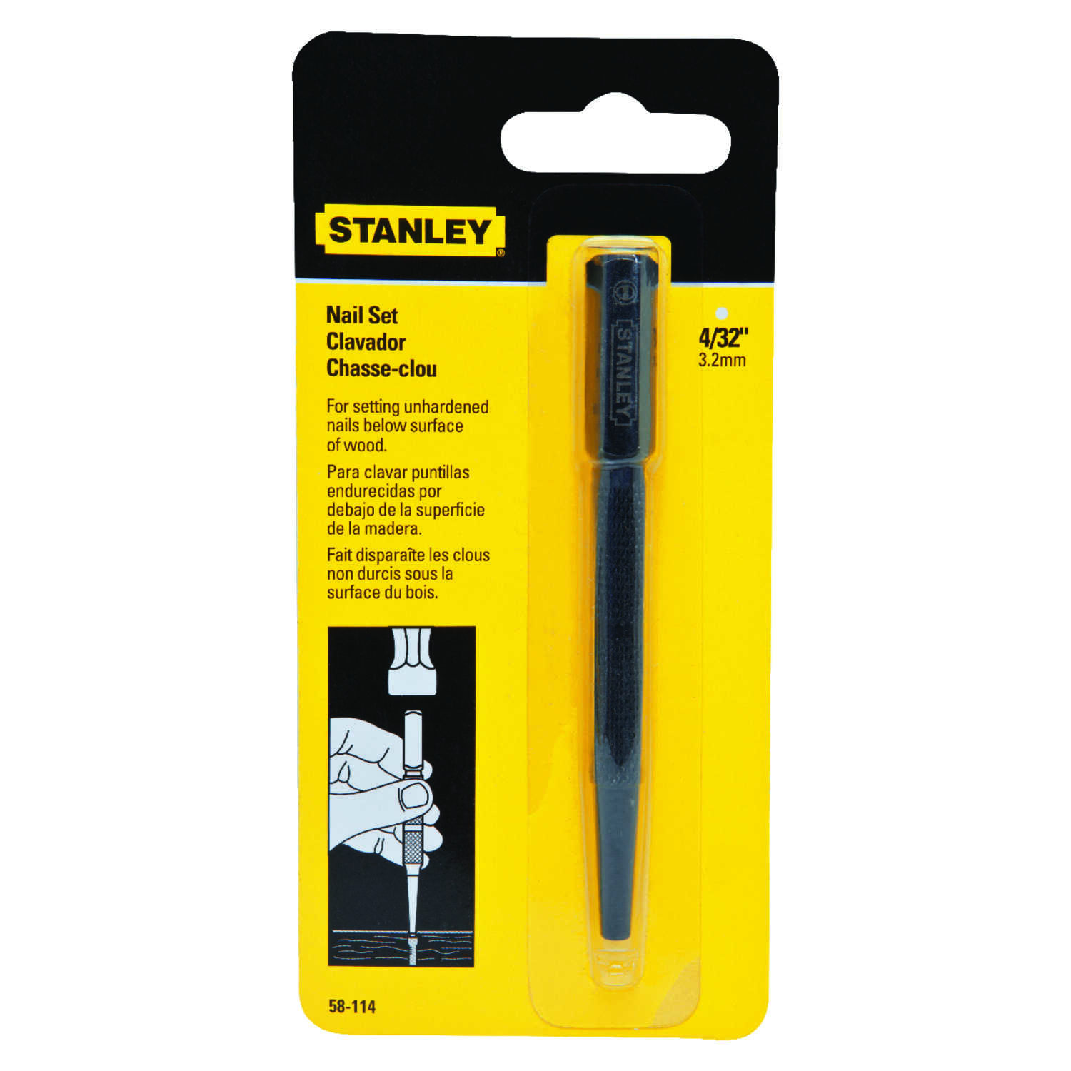 Stanley  4 in. L 1 pc. Silver  Nail Set  Forged Steel