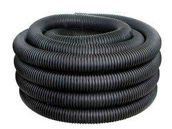 ADS  3 in. Dia. x 100 ft. L Plastic  Corrugated Drainage Tubing with Sock
