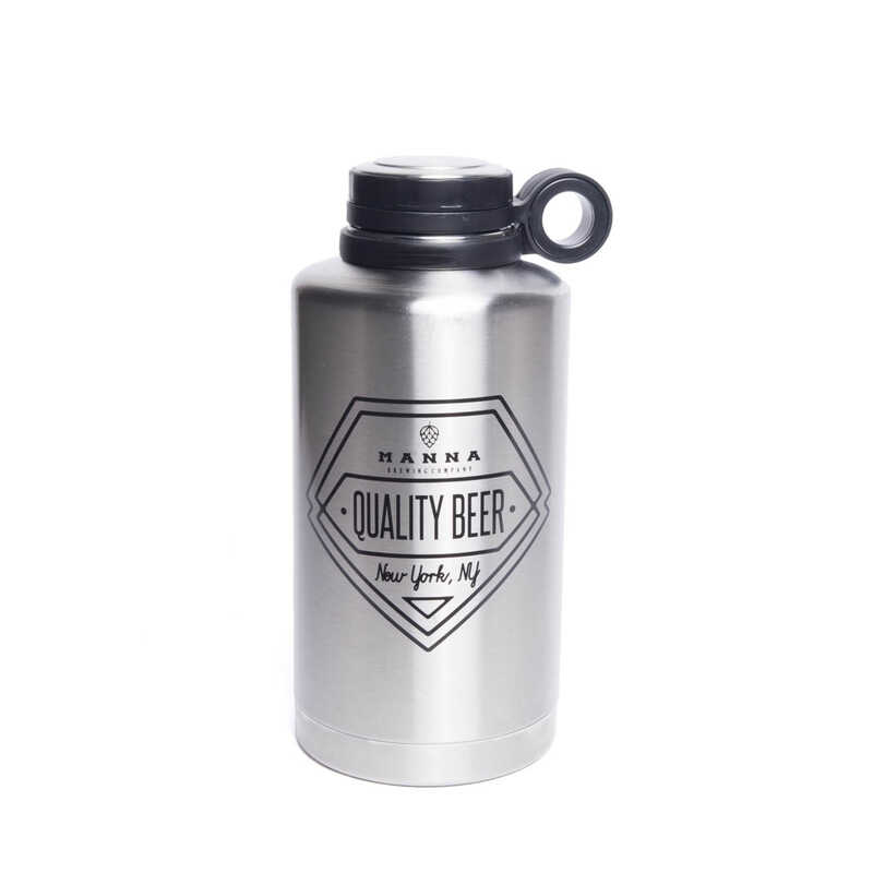 Manna  Silver  Stainless Steel  Quality Beer  Insulated Bottle  BPA Free 64 oz.