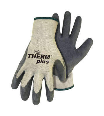 Boss  Therm Plus  Men's  Indoor/Outdoor  Latex Coated  String Knit  Work Gloves  Gray/White  M  1 pa