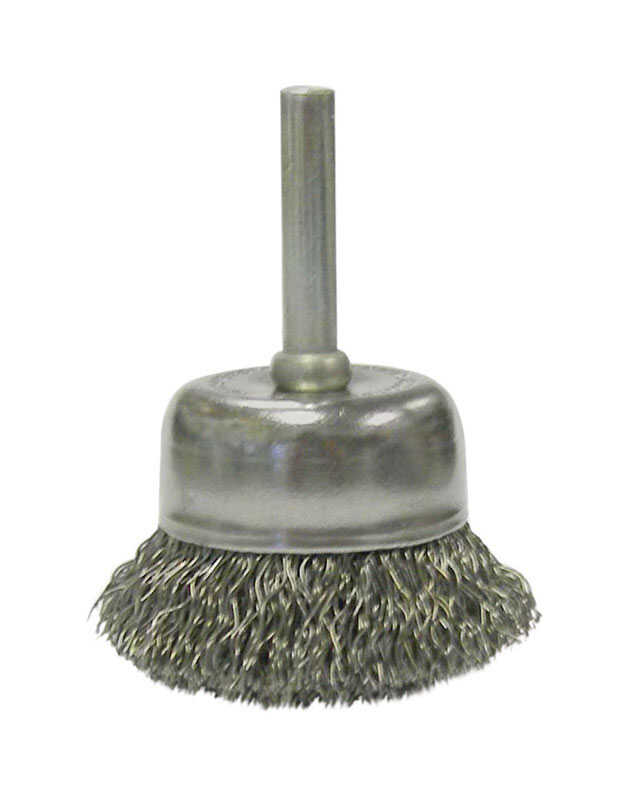 Weiler  2 in. Dia. x 1/4 in. in.  Coarse  Steel  Crimped Wire Cup Brush  1 pc.