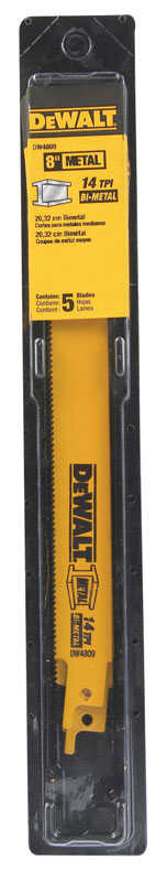 DeWalt  8 in. L x 3/4 in. W Bi-Metal  Reciprocating Saw Blade  14 TPI 5 pk
