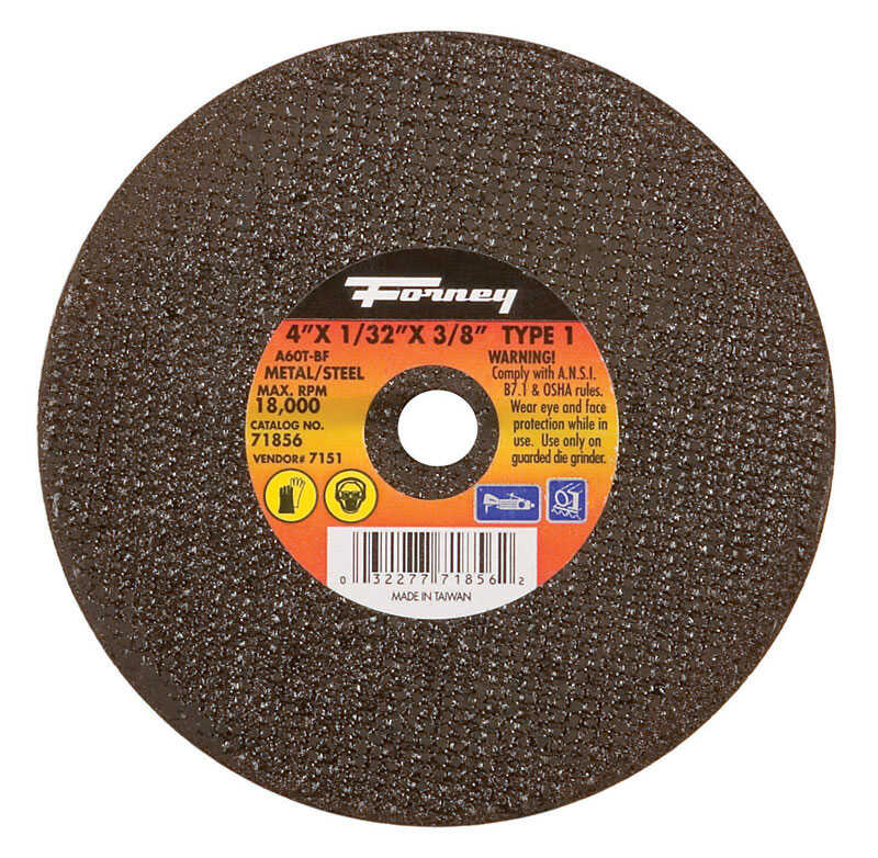 Forney  Aluminum Oxide  4 in. Metal Cut-Off Wheel  3/8 in.  x 1/32 in.  1 pc.