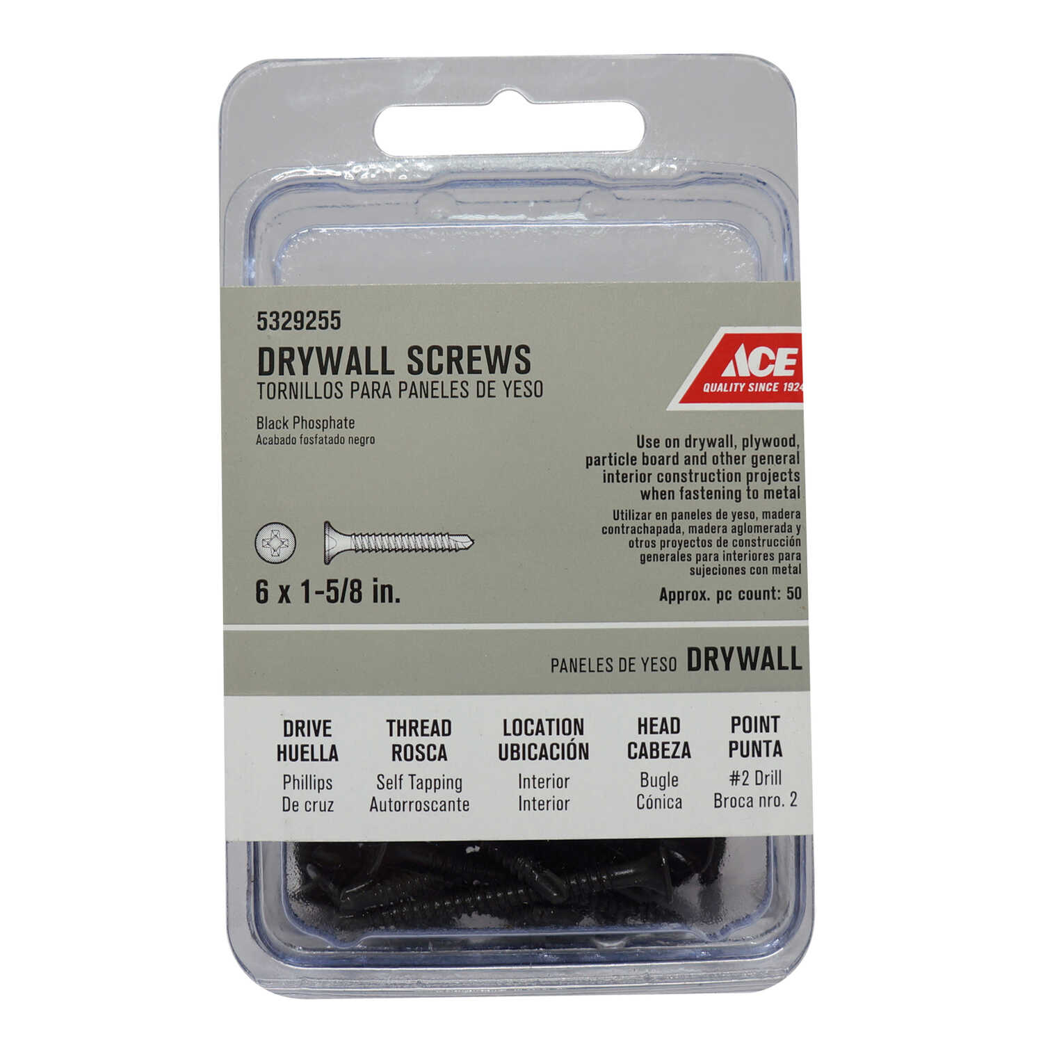 Ace  No. 6   x 1-5/8 in. L Phillips  Bugle Head Black Phosphate  Steel  Drywall Screws  50 pk