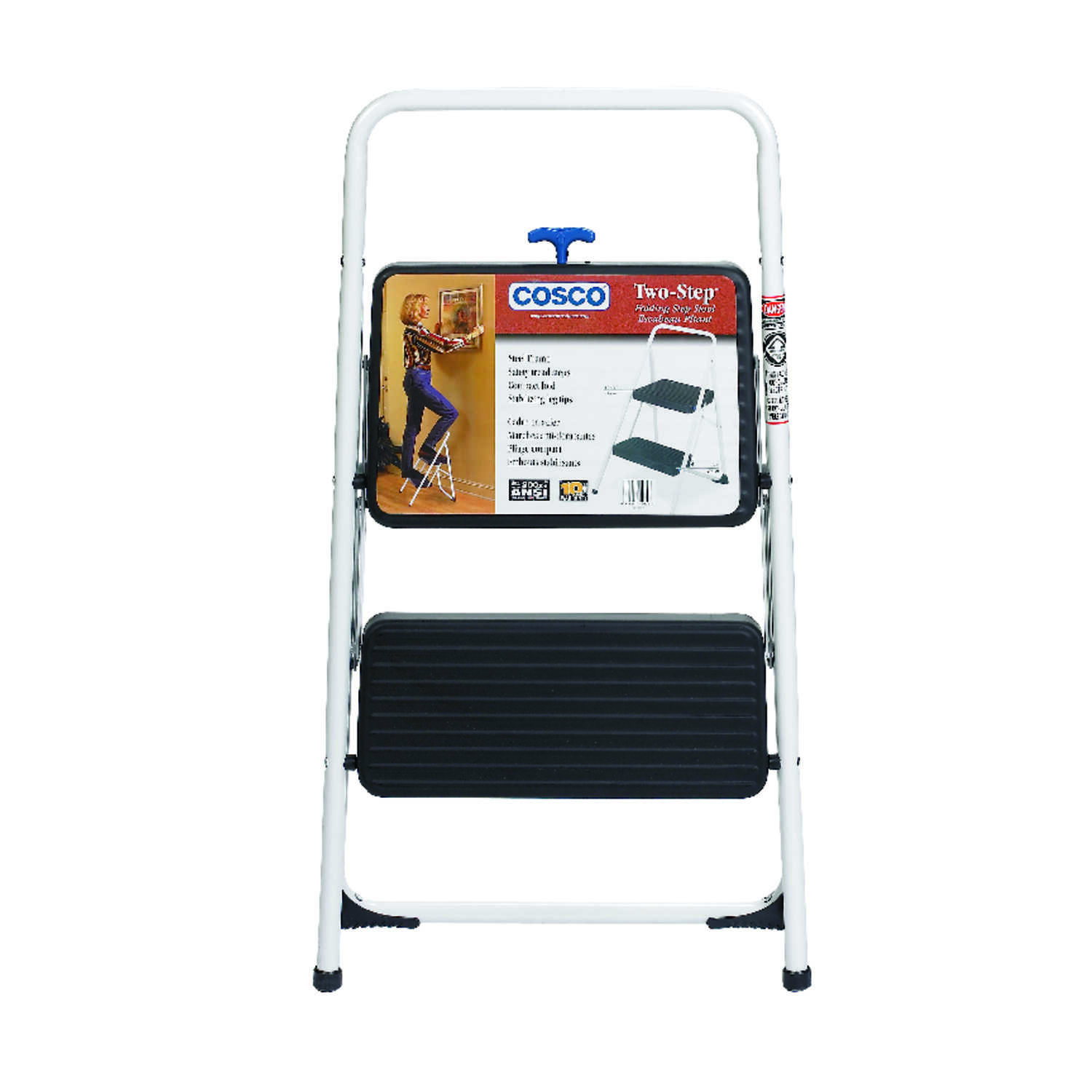 Cosco  28.15 in. H x 17.323 in. W 200 lb. Steel  2 step Folding Two Step Stool