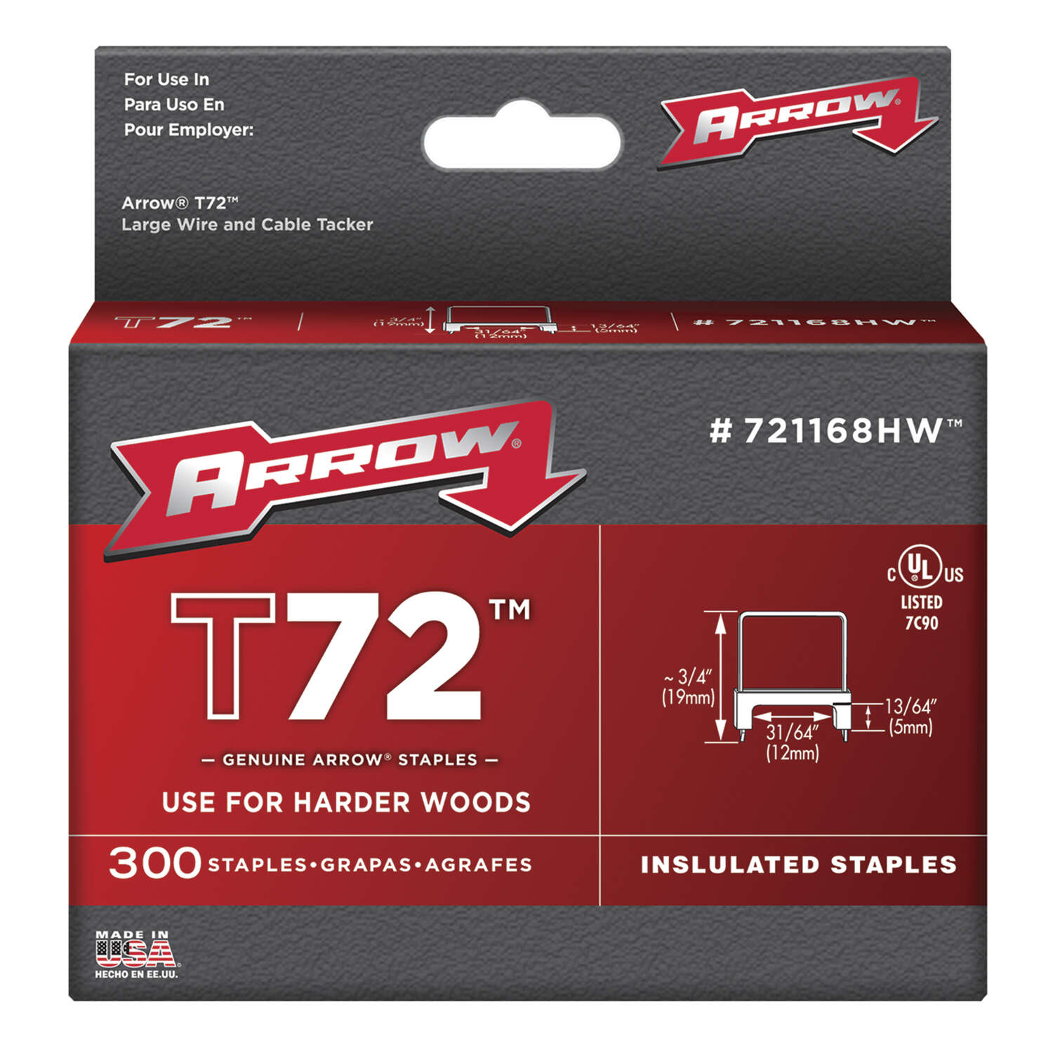 Arrow Fastener  T72  3/4 in. L 15 Ga. Wide Crown  Insulated Staples  300 pk