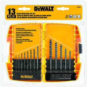DeWalt  Multi Size in. Dia. x Multi  L Drill Bit Set  Round Shank  13 pc. Black Oxide