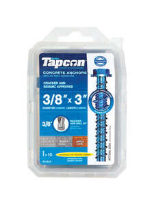 Tapcon  3/8 in. Dia. x 3 in. L Steel  Concrete Screw Anchor  10 pk Hex