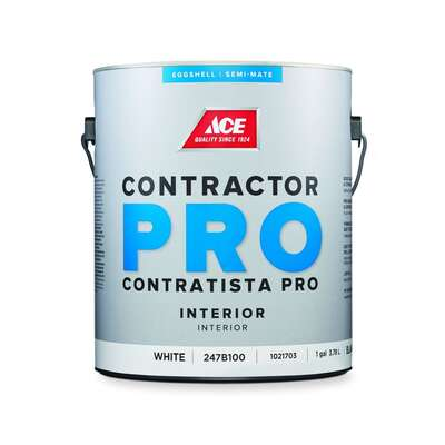 Ace  Contractor Pro  Eggshell  White  Latex  Paint  Interior  1 gal.