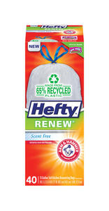Hefty  Renew  13 gal. Kitchen Trash Bags  Drawstring  40 pk