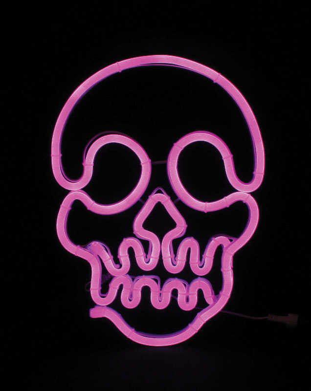 Celebrations  Neon Skull  Halloween Decoration  Purple  Metal/Glass  1 pk