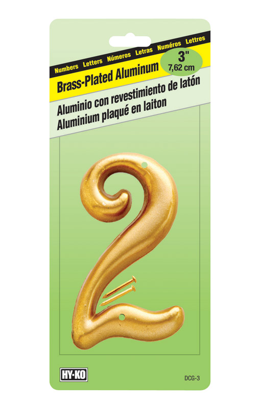 Hy-Ko  Aluminum  2  Number  Nail-On  Brass Plated  3 in.