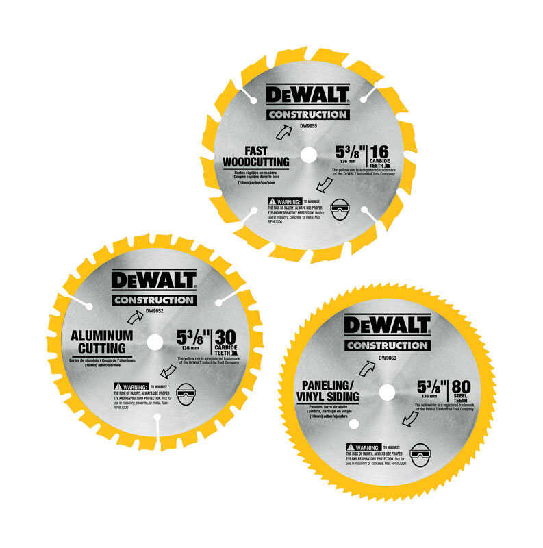 DeWalt  5-3/8 in. Dia. x 10 mm  Carbide Tipped  Construction Blade Pack  16, 30, 80 teeth 3 pk