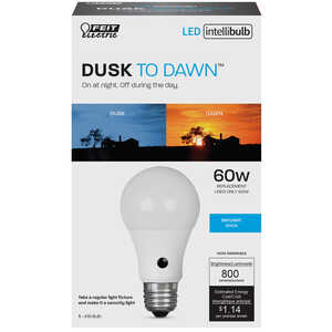 FEIT Electric  Intellibulb Dusk To Dawn  9.5 watts A19  LED Bulb  800 lumens Daylight  A-Line  60 Wa