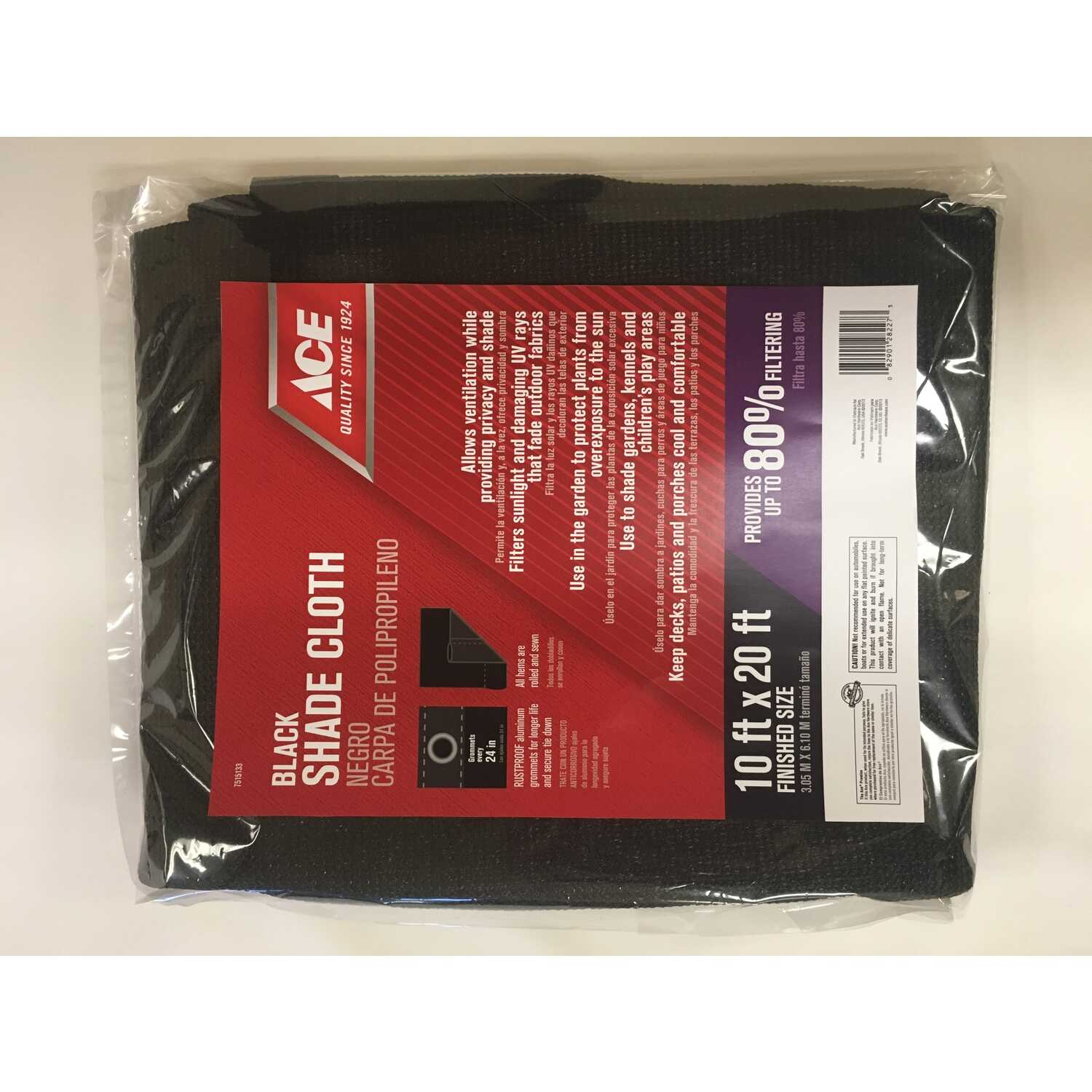 Ace  20 ft. W x 10 ft. L Heavy Duty  Polyethylene  Shade Cloth  Black