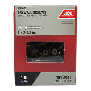 Ace  No. 8   x 2-1/2 in. L Phillips  Black Phosphate  Drywall Screws  1 lb. 114 pk