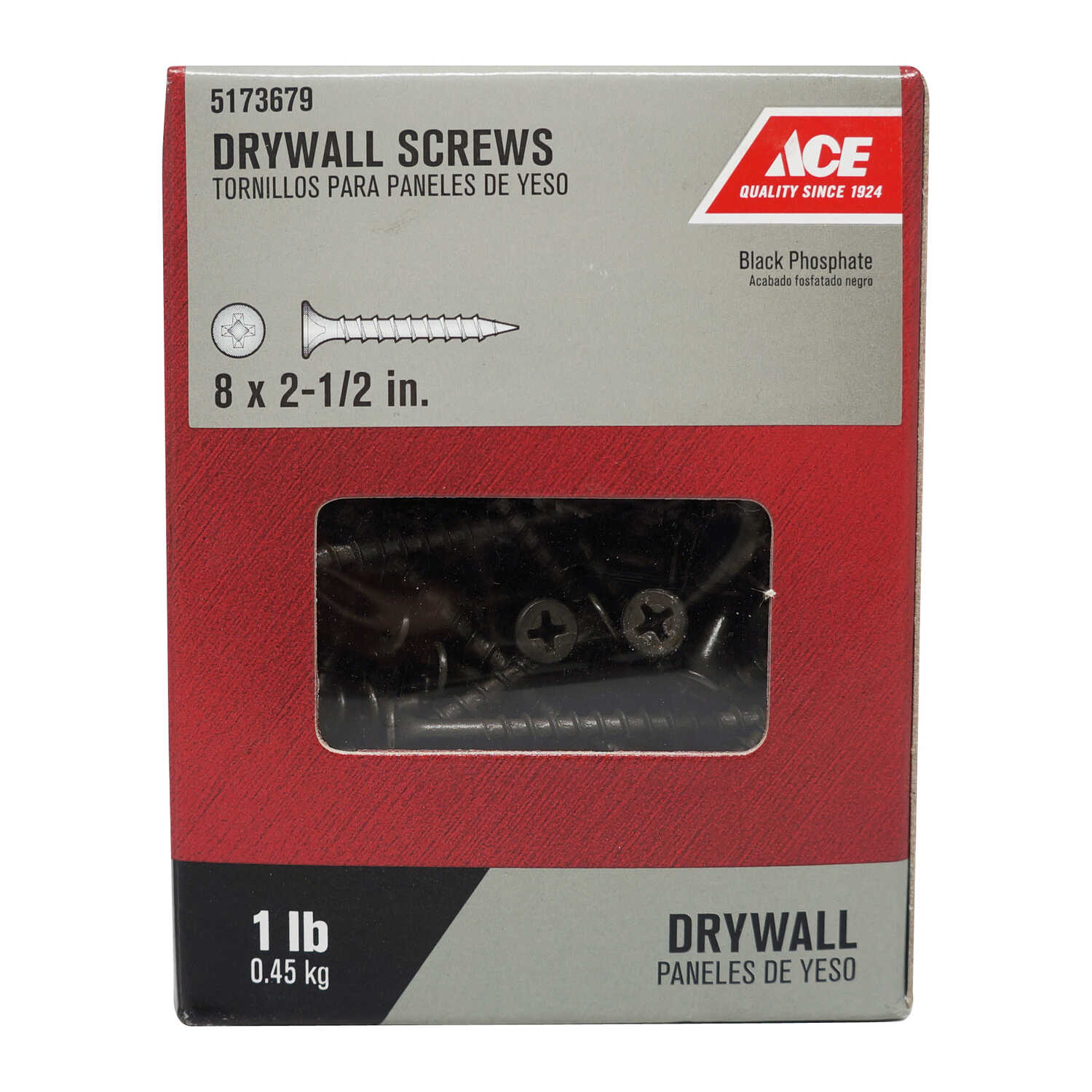 Ace  No. 8   x 2-1/2 in. L Phillips  Bugle Head Black Phosphate  Steel  Drywall Screws  1 lb. 114 pk