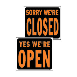 Hy-Ko Hy-Glo English Black Open/Close Sign 14.5 in. H x 18.5 in. W
