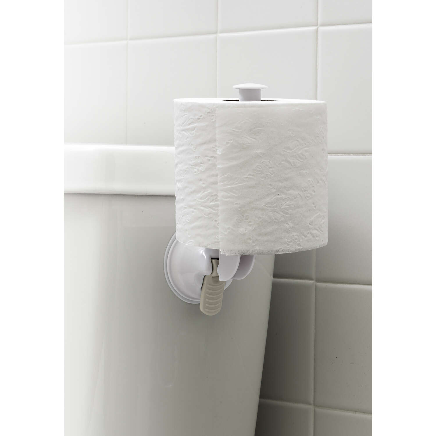 Safe-Er-Grip  Bright  White  Toilet Paper Holder