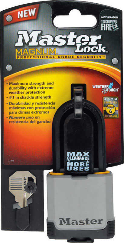 Master Lock  2 in. H x 1-3/16 in. W x 2 in. L Vinyl Covered Steel  Ball Bearing Locking  Padlock  1