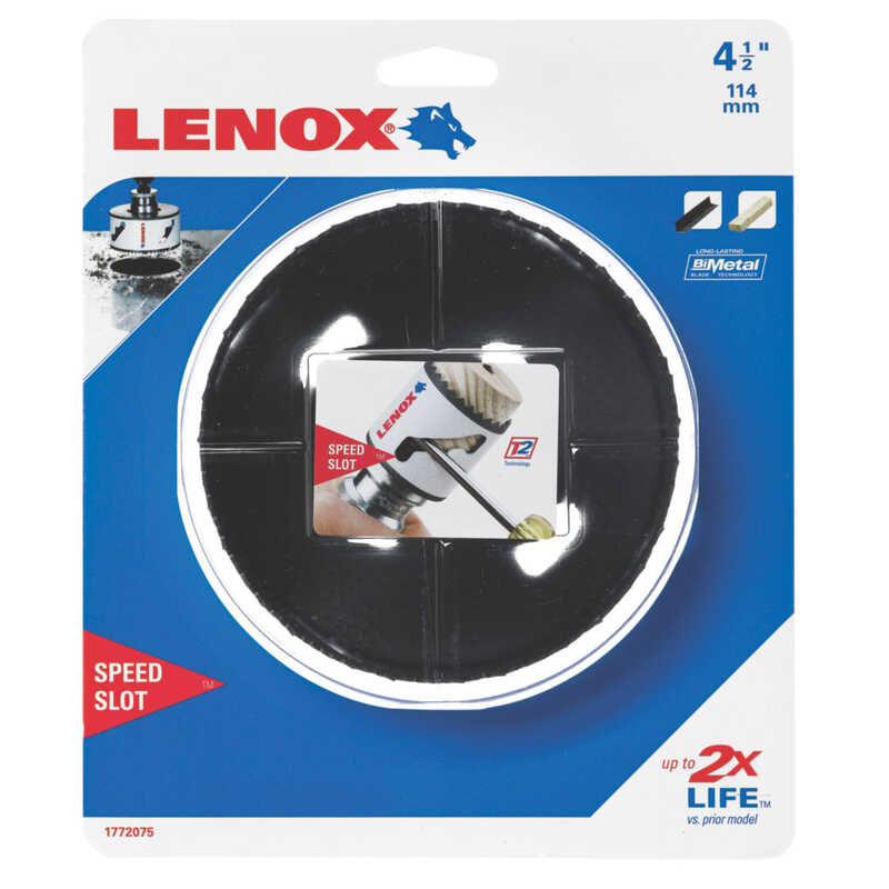 Lenox  Speed Slot  4-1/2 in. Dia. x 1.5 in. L Bi-Metal  Hole Saw  1/2 in. 1 pc.