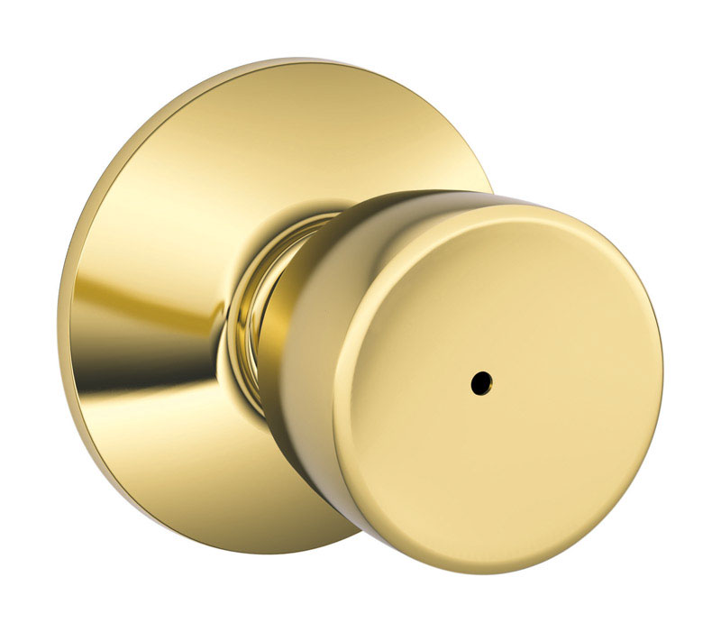 Schlage  Bell  Bright Brass  Steel  Privacy Lockset  ANSI Grade 2  1-3/4 in.