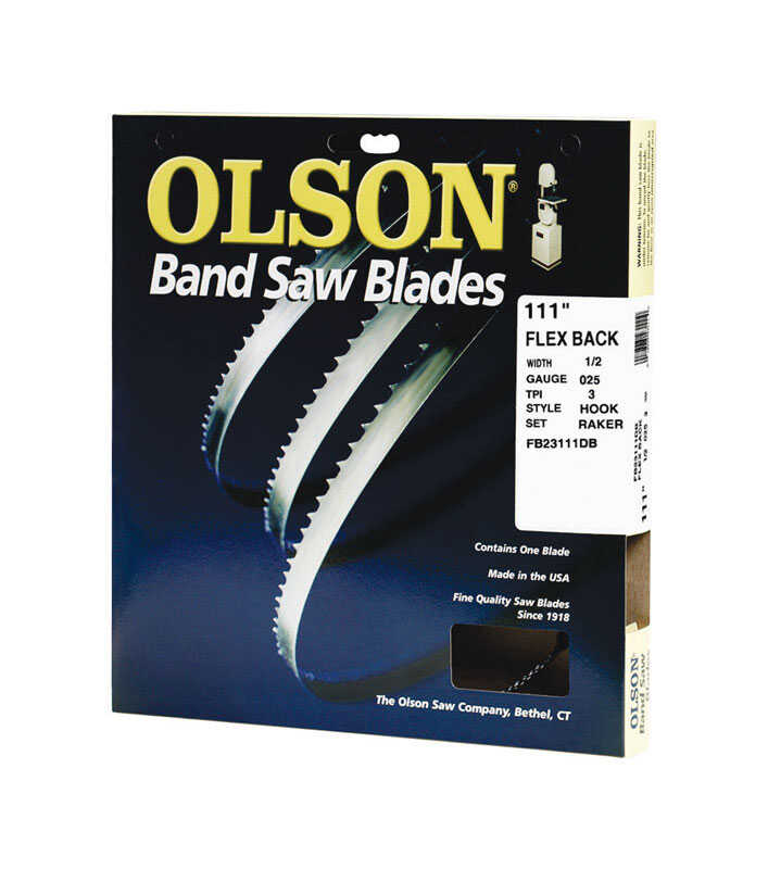 Olson  1/2 in. W x 0.025 in.  x 111  L x 1/2 in. W Carbon Steel  Band Saw Blade  3 TPI Hook  1 pk