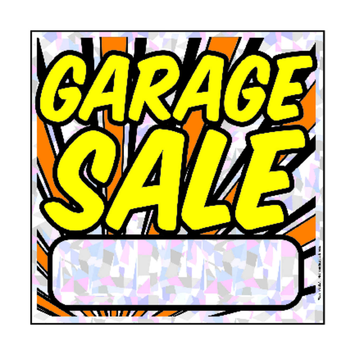 Hy-Ko  English  12 in. H x 12 in. W Sign  Polyethylene  Garage Sale