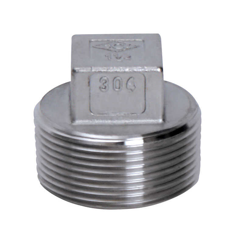 Smith-Cooper  1 in. MPT   x 1 in. Dia. MPT  Stainless Steel  Square Head Plug