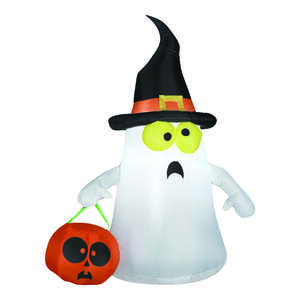 Gemmy  Inflatable Ghost with Witch Hat  Lighted Halloween Decoration