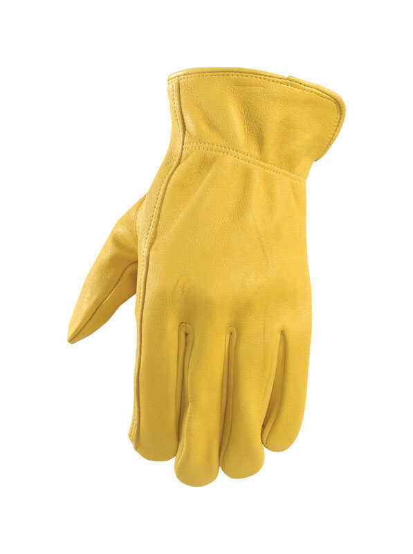 Wells Lamont  Men's  Leather  Driver  Gloves  Yellow  XL