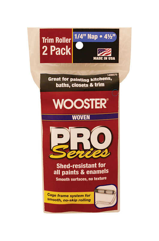 Wooster  Pro Series  Woven  1/4 in.  x 4-1/2 in. W Trim  Paint Roller Cover  For Smooth Surfaces 2 p