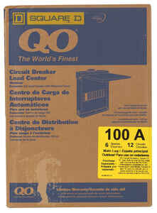Square D  QO  100 amps 120/240 volt 6 space 12 circuits Combination Mount  Main Lug Load Center