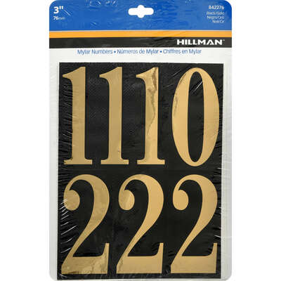 Hillman  3 in. Reflective Gold  Mylar  Self-Adhesive  Number Set  0-9  26 pc.