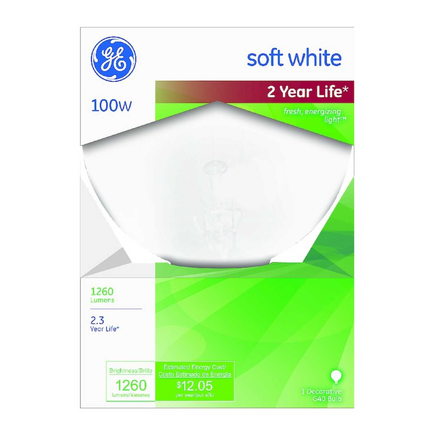 GE  100 watts G40  Globe  Incandescent Bulb  E26 (Medium)  Soft White  1 pk
