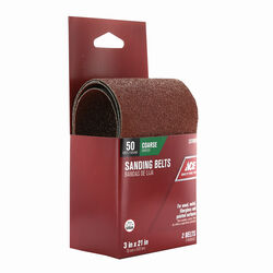 Ace  21 in. L x 3 in. W Aluminum Oxide  Sanding Belt  50 Grit Coarse  2 pc.