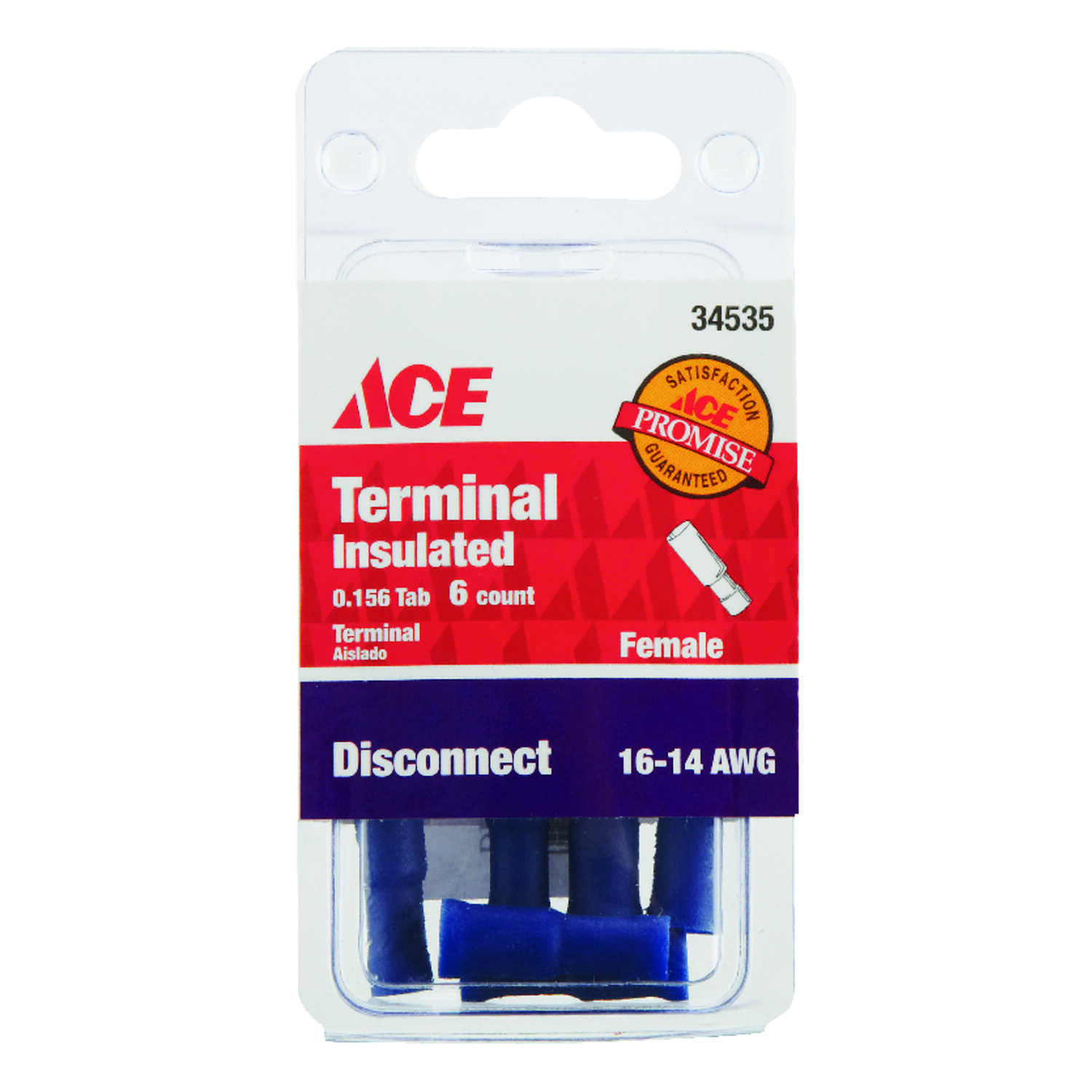 Ace  Insulated Wire  Female Disconnect  Blue  6 pk