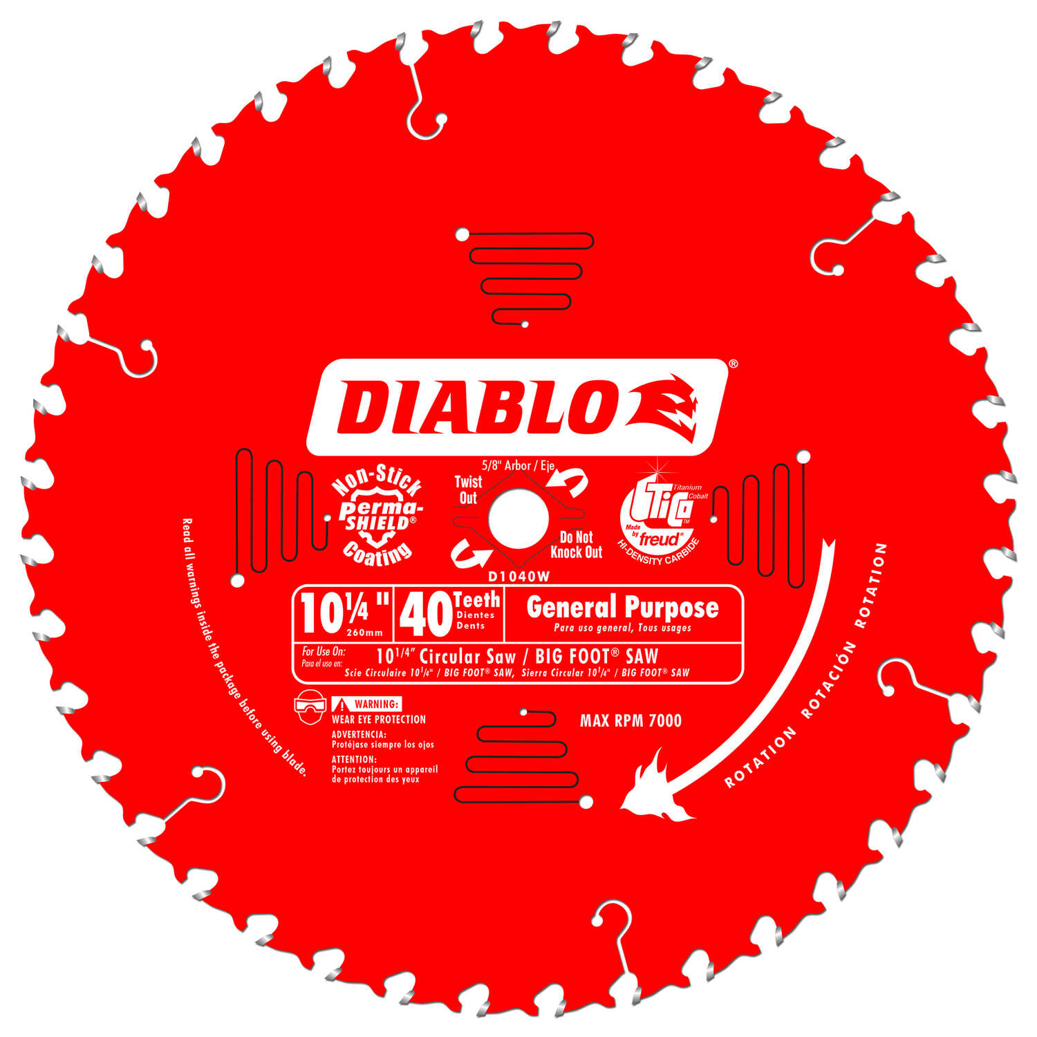 Diablo  10-1/4 in. Dia. x 5/8 in.  x 0.1 in.  Carbide Tip  Circular Saw Blade  40 teeth 1 pk