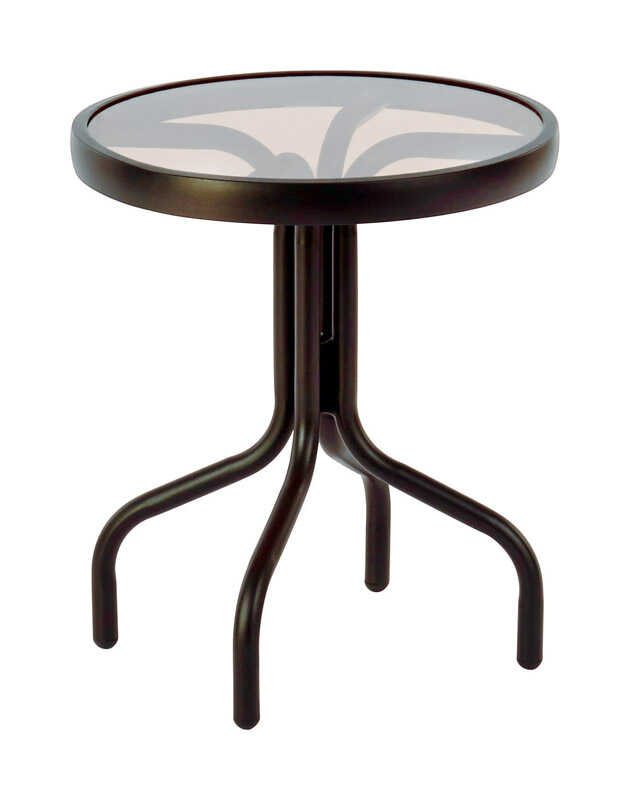 Living Accents  Glass Top  Brown  Heritage  Stackable Side Table  Round