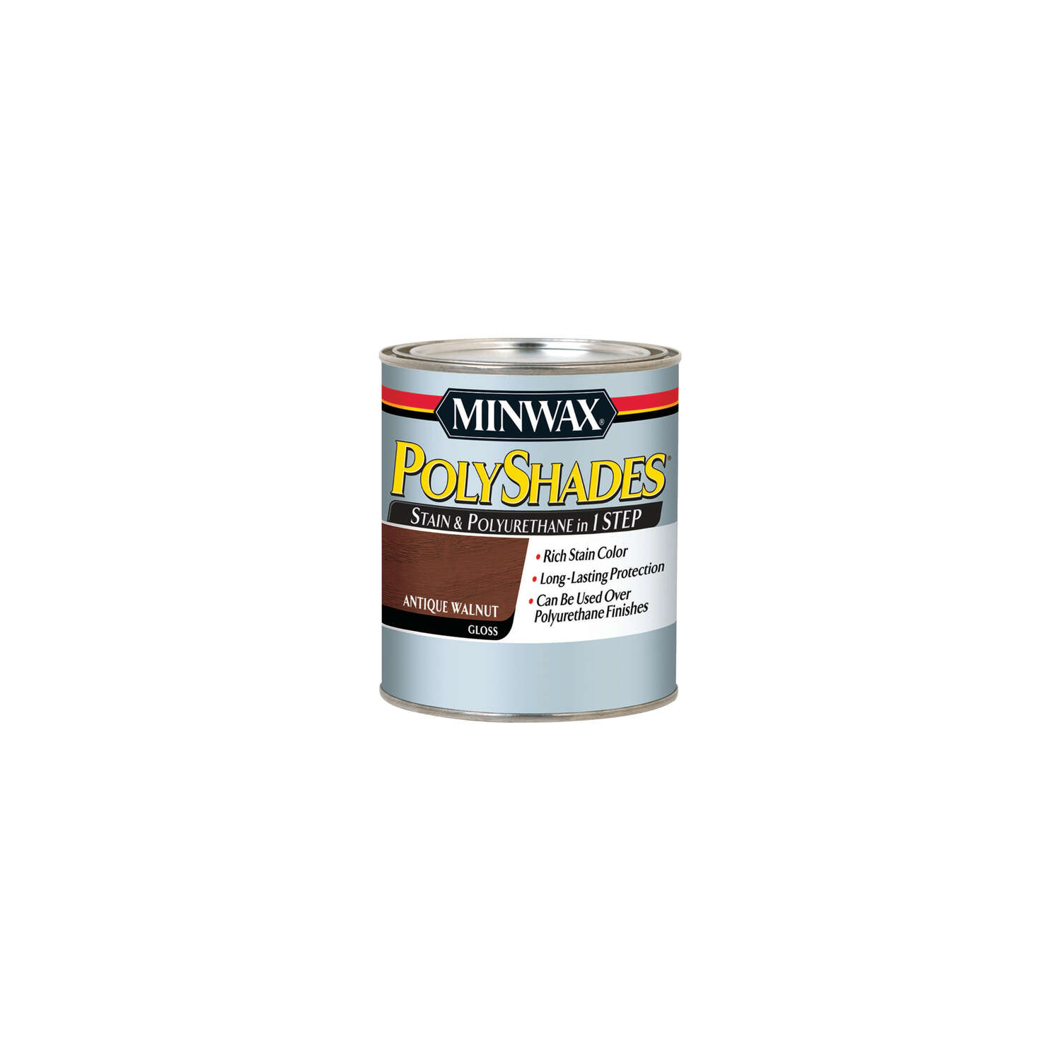 Minwax  PolyShades  Semi-Transparent  Gloss  Antique Walnut  Oil-Based  Polyurethane  Stain  0.5 pt.