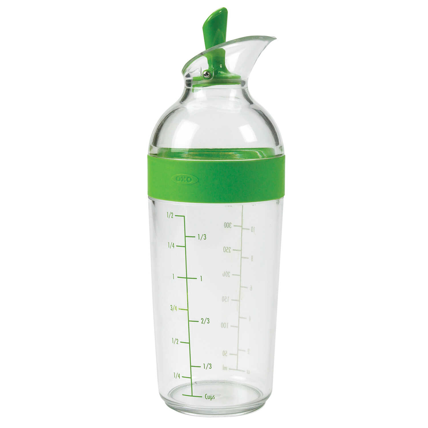 OXO  Good Grips  4.25 in. W x 3 in. L Clear/Green  Salad Dressing Shaker