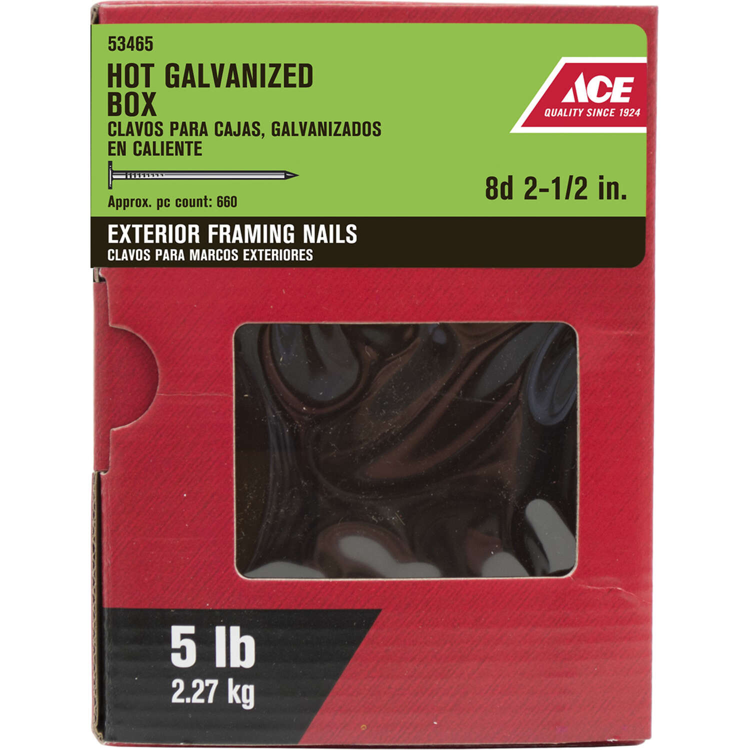 Ace  8D  2-1/2 in. Box  Hot-Dipped Galvanized  Steel  Nail  Flat  5 lb.