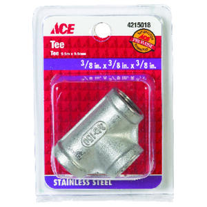 Smith-Cooper  3/8 in. FPT   x 3/8 in. Dia. FPT  Stainless Steel  Tee