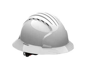 Safety Works  Polyethylene  6-Point Ratchet  Full Brim Hard Hat  White  Vented 1 pk