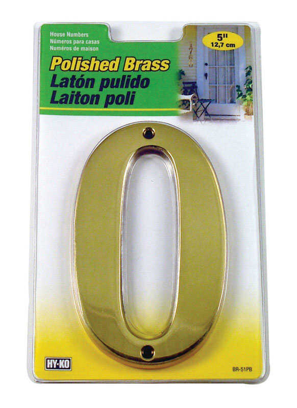 Hy-Ko  Brass  Bronze  0  Number  Nail-On  5 in.