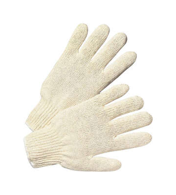 West Chester  Unisex  Indoor/Outdoor  Cotton/Polyester  Reversible  String Gloves  White  L  1 pk