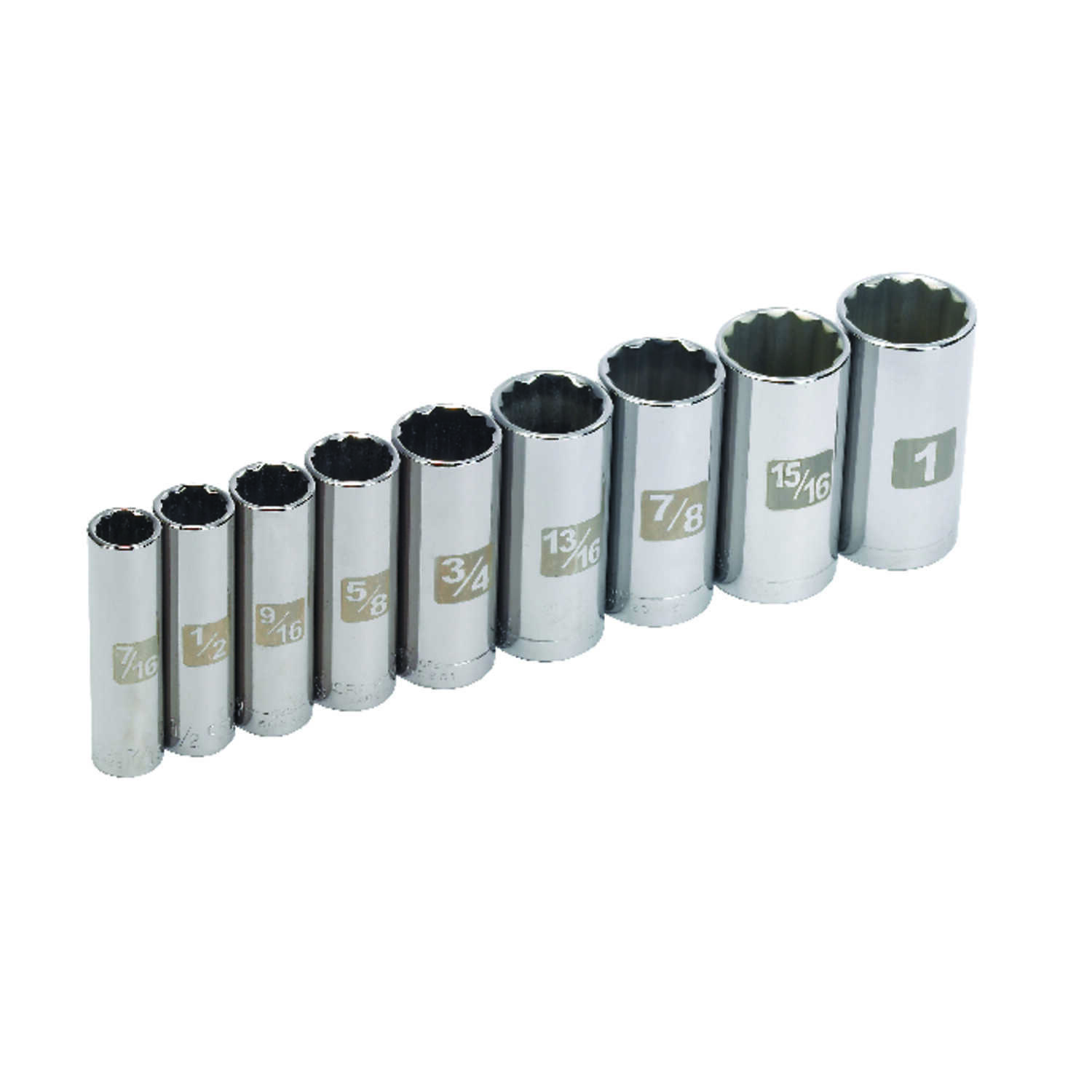 Craftsman  1 in.  x 3/8 in. drive  SAE  12 Point Socket Set  9 pc.